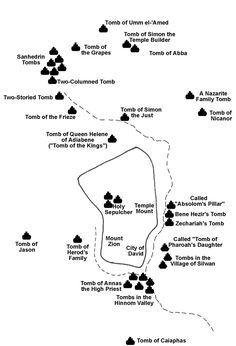 Detail map showing the location of the tombs located around Jerusalem.