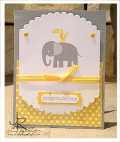 67 Trendy Baby Shower Card Stampin Up Layout Baby Zoo, Handgemachtes Baby, Baby Scrapbook, Scrapbook Cards, Hand Made Greeting Cards, Card Tags, Card Kit, New Baby Cards, Baby Shower Cards