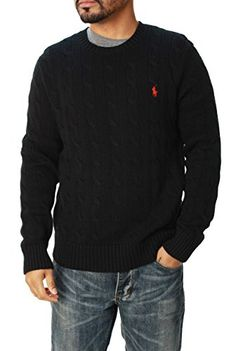 Men's Clothing - Polo Ralph Lauren Mens Pony Cable Knit Crewneck Sweater *** Click on the image for additional details. (This is an Amazon affiliate link)
