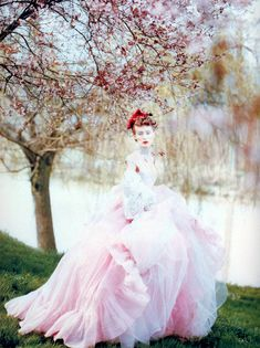 Vogue UK, circa 1994  Photographer: Paolo Roversi  Model: Olga Pantushenkova  Dress by Vivienne Westwood