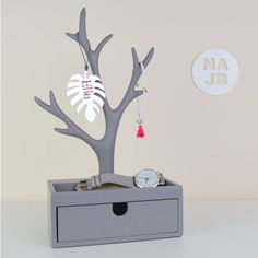 Not a Jewellery Box Grey Jewellery Tree And Box ($36) ❤ liked on Polyvore featuring home, home decor, jewelry storage, modern home accessories, gray home decor, grey home decor, modern home decor and modern jewelry box