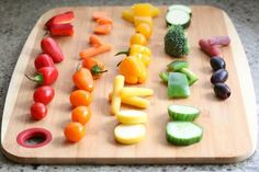 Rainbow Veggie Kabobs are so much more fun than veggies and dip on that plain-old veggie tray! Perfect for parties and for getting kids to eat more veggies! Veggie Kabobs, Veggie Tray, Inspiration For Kids, Picnics, Dip, Appetizers, Parties, Rainbow, Inspire
