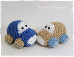 Crochet toy baby rattles set of two cars - organic cotton - blue and beige