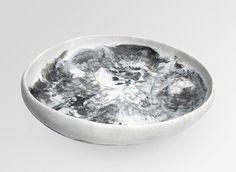 Large Resin Earth Bowl - Black & Snow Swirl