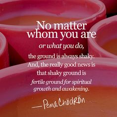 No matter whom you are or what you do, the ground is always shaky. And, the really good news is that shaky ground is fertile ground for spiritual growth and awakening. Change Quotes, Quotes To Live By, Me Quotes, Strong Quotes, Attitude Quotes, Peace Quotes, Daily Quotes, Pema Chodron, Believe