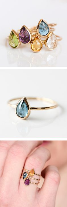 London Blue topaz and 14k gold ring, teardrop, rose cut, pear cut, solid 14k gold thin stacking ring, eco friendly, blue gemstone. A beautiful stacking ring from Sydney, Australia based designer Belinda Saville will make any girls day. Perfect Christmas gift for mom, girlfriend, wife, daughter, granddaughter, grandmother.
