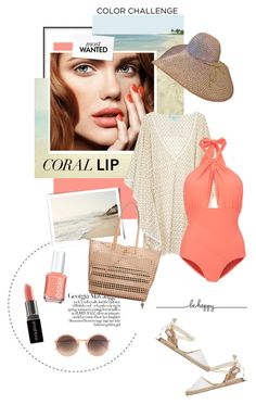 """""""Coral Beauty"""" by pippi-loves-music ❤ liked on Polyvore featuring Melissa Odabash, Lilliput & Felix, Soludos, Jagger, Linda Farrow, Loeffler Randall, Smashbox, Essie, women's clothing and women"""