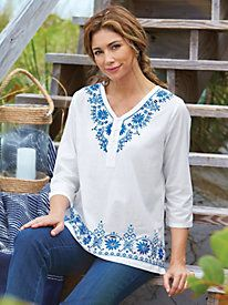 The perfect casual companion to your favorite jeans ~ Embroidered Tunic from Bedford Fair