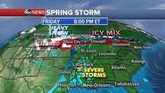 Massive storm system bringing heavy snow to Northern Plains severe storms to South -  A massive spring storm is moving across the country bringing with it everything from damaging winds to snow and hail.  Interested in Weather?  Add Weather as an interest to stay up to date on the latest Weather news video and analysis from ABC News.  Add Interest  Strong winds fueled fires in Oklahoma that have burned 100000 acres on Thursday while part of the Rockies got over a foot of snow.  As the storm…