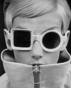 Twiggy wearing funky glasses