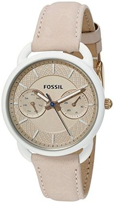 01097491cfa Amazon.com  Fossil Women s ES4008 Tailor Multifunction Light Brown Leather  Watch  Watches
