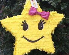 Yellow Star Pinata with Pink Bow Star Pinata, Foam Crafts, Diy Arts And Crafts, Diy Crafts, Birthday Pinata, Birthday Backdrop, Animal Crafts For Kids, Baby Clip Art, Feltro