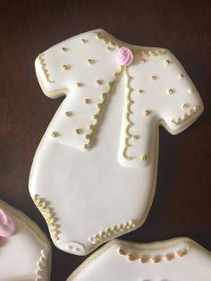 Items similar to Baby Girl Onsie Cookies on Etsy Fancy Cookies, Iced Cookies, Cute Cookies, Royal Icing Cookies, Cupcake Cookies, Sugar Cookies, Cookies Et Biscuits, Cookie Favors, Heart Cookies