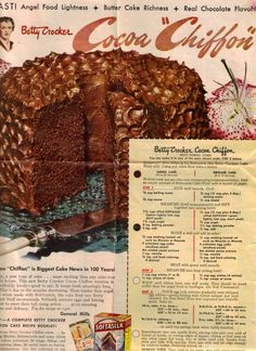 Cocoa Chiffon Cake I made this cake twice in one week when my daughter came home from college. My niece, stepdaughter, my daughter and brothers ate both cakes in one week. The best chocolate cake ever! Retro Recipes, Old Recipes, Vintage Recipes, Cookbook Recipes, Cake Recipes, Cooking Recipes, 1950s Recipes, Frosting Recipes, Family Recipes