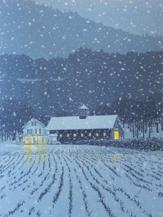 """First Snow"" by William Hays, 7 color linocut print"