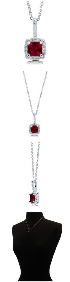 Sterling Silver Cushion CZ Halo Fashion Necklace