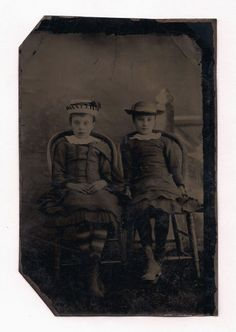 OLD VINTAGE TINTYPE PHOTO of TWO CUTE SWEET YOUNG GIRLS IN PRETTY GIRL OUTFITS | eBay