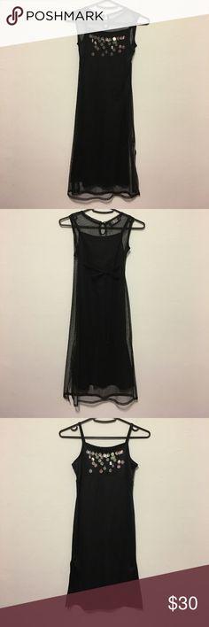 Biscotti Collezioni Black Dress Black spaghetti strap dress with sequin. Comes with black mesh dress. Used in excellent condition. Biscotti Dresses Formal
