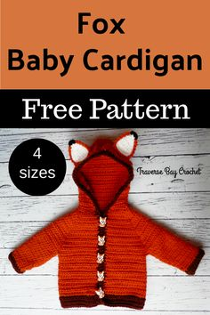 Fox Baby Crochet Cardigan - crochet baby cardigan fox sweater written in month, month, month and month sizes Crochet Hoodie, Crochet Cardigan Pattern, Crochet Fox, Crochet For Boys, Booties Crochet, Free Crochet, Crochet Hats, Baby Boy Cardigan, Cardigan Bebe