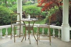 "CBM Outdoor Patio Cast Aluminum Furnitur 3 Piece Bar Table Set A CBM1290 by Bar Stool Table Set. $699.00. Table dimensions: 30"" L x 30"" W x 41"" H.   Table weight: 33 lbs.. Features: Color: Banboo Color see Picture.   Includes: 2 chairs Cushions and 1 table. IF YOU HAVE ANY QUESTIONS PLEASE CLICK ON (see all buying options) THEN (return policy). Chair dimensions: 22"" L x 22"" W x 50"" H.    Chair weight: 18 lbs. (each). Wide leg positioning for added stability. Assembly..."