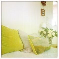 'Arles' in bitter chartreuse is the perfect antidote for boring cushions, an artwork and cushion in one..hand made from pure silk velvet with matching chartreuse throw cushion...just what you need for a long lazy morning in bed...www.foundling.com.au