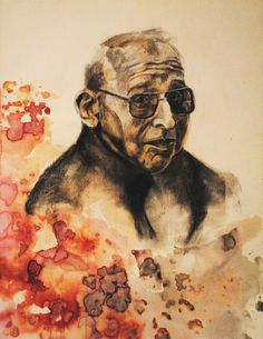 India Ink and Charcoal Drawing of Grampa By: Hayley McLean