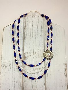 Vintage Pin Multi-Strand Beaded Blue White and Red Necklace