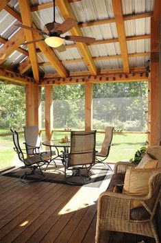 Patios must show charm as well as coziness. Roof design for patios is on… Screened Porch Designs, Screened Porches, Front Porch, Porch Roof Design, Back Porches, Screen For Porch, Back Porch Designs, Enclosed Porches, Porch Kits