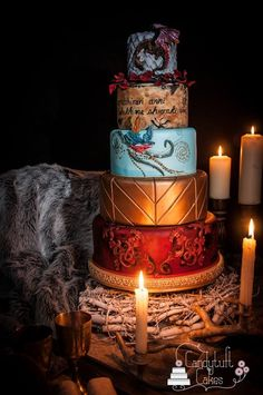 game of thrones wedding.The Sweet Finale Wow your guests with a dramatic cake topped with the Iron Throne, a sword or a fire-breathing dragon (if you hail from the house of Targaryen Bolo Game Of Thrones, Game Of Thrones Theme, Beautiful Cakes, Amazing Cakes, Pretty Cakes, Party Deco, Geek Wedding, Cake Games, Fancy Cakes