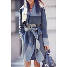 Wholesale Fashionable Turn-Down Collar Color Block With Belt Long Sleeve Coat For Women Only $15.02 Drop Shipping | TrendsGal.com