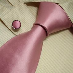 NEW Designer Hand Made Grey Solids Plain Neck Tie Cufflinks Pink Ties for Men Jacquard Woven Pure Silk Mens Neck Tie and Cuff Links Gift Set S3002