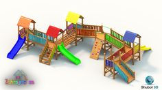 wooden playground - 3D visualization