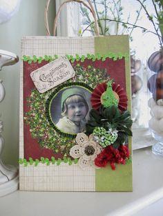 Christmas Gift Bag  Paper Gift Bag  Vintagestyle by AvantCarde, $10.00