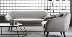 A modern living room furniture set that is stylish and yet comfortable. Cool grey textiles with black accented home accessories add an element of cool. Sofa, Couch, Decoration, Kitchen Accessories, Contemporary Furniture, Living Room Furniture, Love Seat, Armchair, Minimalist