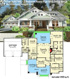 Architectural Designs House Plan 16887WG. The perfect home for that front porch swing. Just under 1,900 sq. ft. of one-level living. Ready when you are. Where do YOU want to build? #readywhenyouare #houseplan #countryliving
