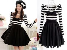 Cute Sweet Japan Dolly Gothic Punk Lolita DOLLY BOW Stripes Onepiece Dress #OwnBrand