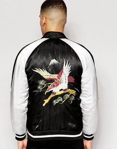 Image 2 of ASOS Bomber Jacket with Eagle Embroidery