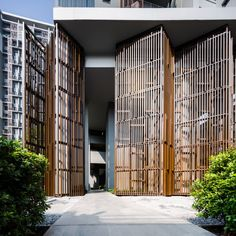 Onyx by sansiri arch: facade pattern архитектура, дом Entrance Design, Entrance Gates, Main Entrance, Facade Design, Partition Design, Gate Design, Wall Partition, Facade Architecture, Landscape Architecture
