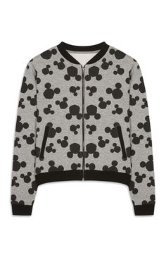 Primark - Grey Mickey Mouse Jersey Bomber Jacket