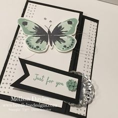 Melissa Davies -bee divine designs - a Latch Card using our new watercolor wings stamp set, in mint, black and silver