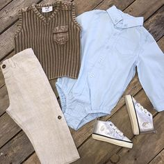 """How adorable is this outfit?! Ralph Lauren polo shoes $49.99 (2,3,4) Long sleeve shirt $29.99 (12-18) Tan cuff pants $34.99 (0-6,6-12,12-18) Vintage brown sweater vest $39.99 (0-6,6-12,12-18)"" Photo taken by @daviscountrystore on Instagram, pinned via the InstaPin iOS App! http://www.instapinapp.com (01/07/2016)"