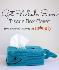 Whale Soon Tissue Box Cover Get Whale Soon Tissue Box Cover - so punny! Free pattern on I love everything Moogly designs!Get Whale Soon Tissue Box Cover - so punny! Free pattern on I love everything Moogly designs! Crochet Kitchen, Crochet Home, Crochet Gifts, Cute Crochet, Tissue Box Covers, Tissue Boxes, Diy Laine, Crochet Patron, Covered Boxes