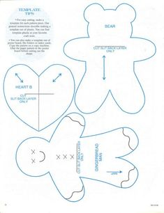 christmas ornaments templates, gingerbread man, bear and heart