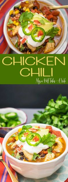 You will adore this chipotle chicken chili! A perfect recipe to warm you up! This chicken chili recipe features chipotle, black beans, corn and spices. #chili #ChickenChili #comfortfood #soup #chickenrecipes via @MrsMajorHoff