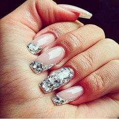 Nails with silver Glitter