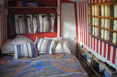 Check out these matching cushions, headrest and blinds! Boat Interior, Narrowboat, Bunk Beds, Blinds, Photo Galleries, Cushions, Houseboats, Bedroom, Gallery