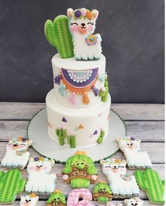 1st Birthday Cakes, 1st Birthday Girls, 1st Birthday Parties, Birthday Ideas, Cookie Cake Birthday, Cactus Cake, Llama Birthday, Cute Cakes, Baby Shower Cakes