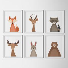 Animales bosque set fondo blanco arte imprimibles vivero