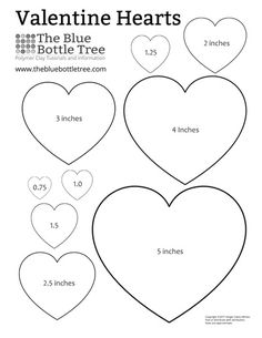 """Get a free sheet of Valentine Heart Printable ClipArt with nine sizes of hearts ranging from 3/4"""" to 5"""", in matching shapes. Both letter and A4 sizes."""