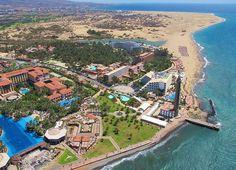 Spain, Canarias, Gran Canaria, An aerial shot of Maspalomas Natural Dune Reserve Beach Resorts, Hotels And Resorts, Grand Canaria, Costa, Family Friendly Resorts, Non Plus Ultra, Wale, Shore Excursions, La Gomera